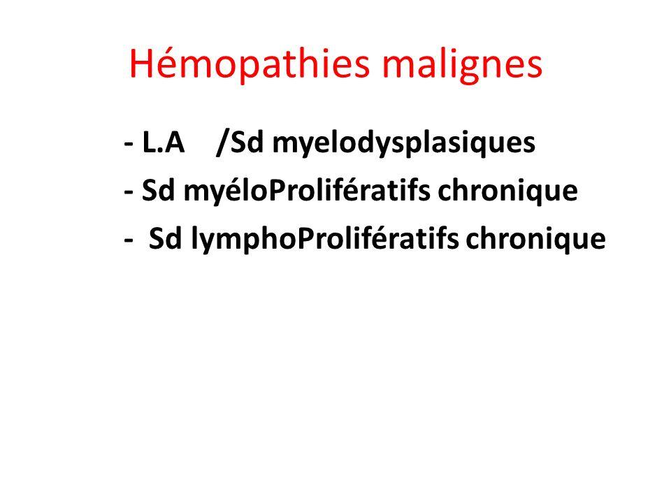L.A: Diagnostic (1) Hémogramme: toujours anormal – Pancytopénie: Anémie (95%) – Thrombopénie (80- 90%) – Neutropénie (70%) – Leucocytose variable (les blastes circulants constituent lessentiel de hyperleucocytose ) Myélogramme = Examen clef – Cytologie – Cytogénétique – Phénotype – Biologie Moléculaire