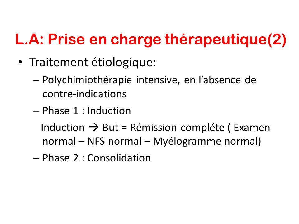 L.A: Prise en charge thérapeutique(2) Traitement étiologique: – Polychimiothérapie intensive, en labsence de contre-indications – Phase 1 : Induction
