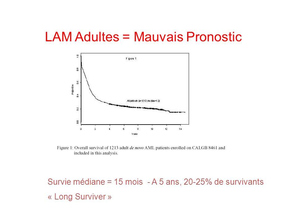 LAM Adultes = Mauvais Pronostic Survie médiane = 15 mois - A 5 ans, 20-25% de survivants « Long Surviver »