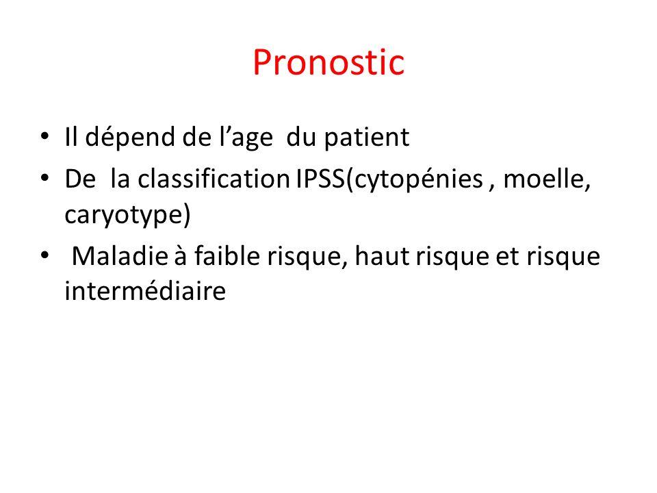 Pronostic Il dépend de lage du patient De la classification IPSS(cytopénies, moelle, caryotype) Maladie à faible risque, haut risque et risque intermé