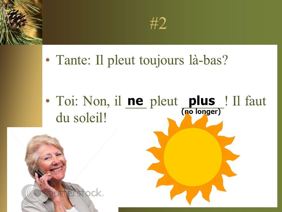 #2 Tante: Il pleut toujours là-bas? Toi: Non, il ___ pleut ______! Il faut du soleil! neplus (no longer)