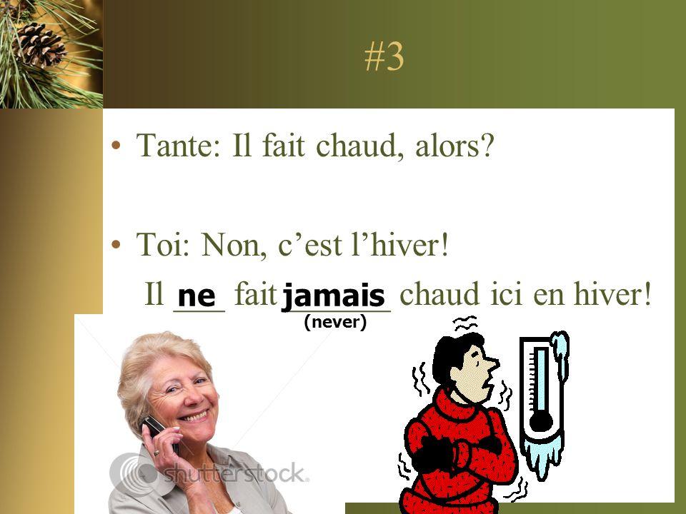 #3 Tante: Il fait chaud, alors? Toi: Non, cest lhiver! Il ___ fait ______ chaud ici en hiver! nejamais (never)