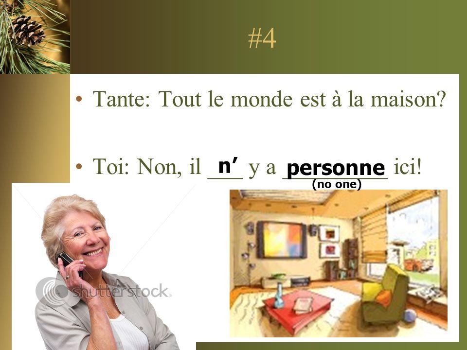 #4 Tante: Tout le monde est à la maison? Toi: Non, il ___ y a _________ ici! n personne (no one)