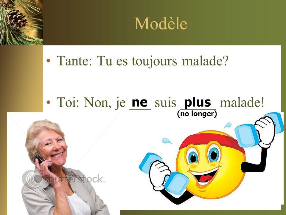 Modèle Tante: Tu es toujours malade? Toi: Non, je ___ suis _____ malade! neplus (no longer)