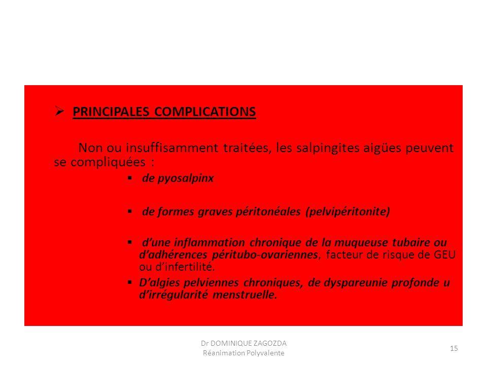 PRINCIPALES COMPLICATIONS Non ou insuffisamment traitées, les salpingites aigües peuvent se compliquées : de pyosalpinx de formes graves péritonéales