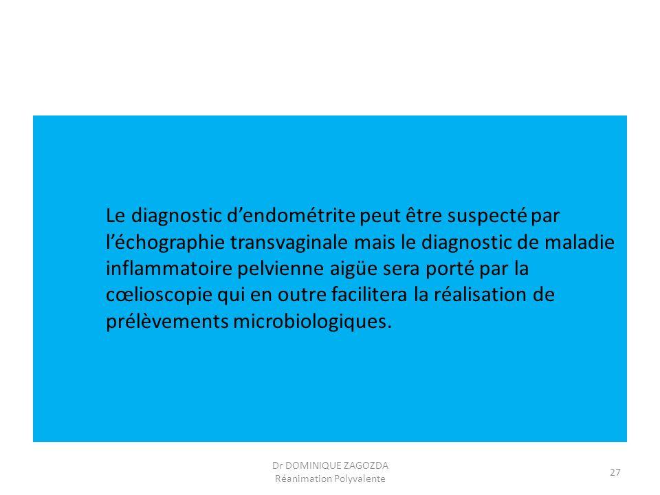 Le diagnostic dendométrite peut être suspecté par léchographie transvaginale mais le diagnostic de maladie inflammatoire pelvienne aigüe sera porté pa