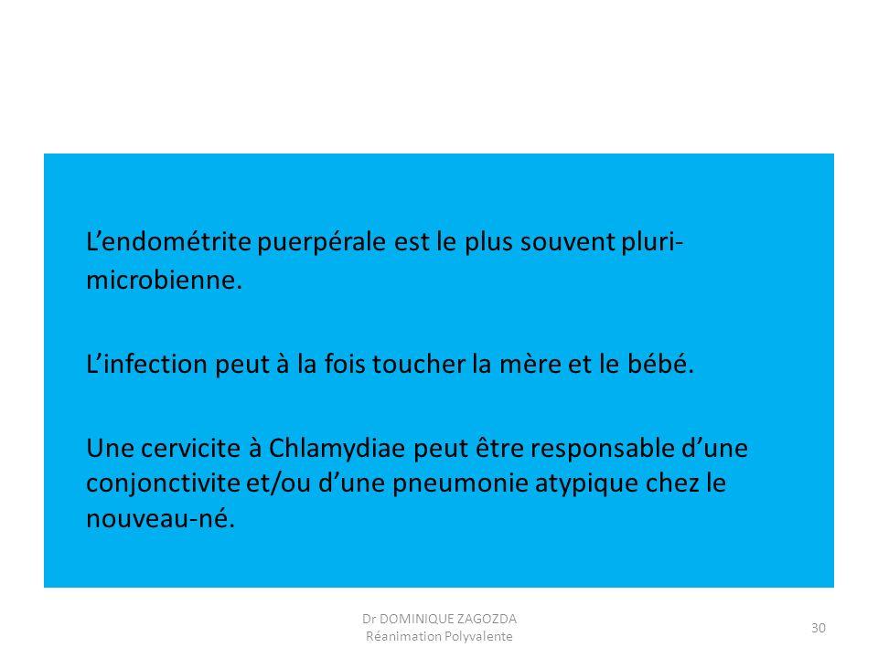 Lendométrite puerpérale est le plus souvent pluri- microbienne. Linfection peut à la fois toucher la mère et le bébé. Une cervicite à Chlamydiae peut