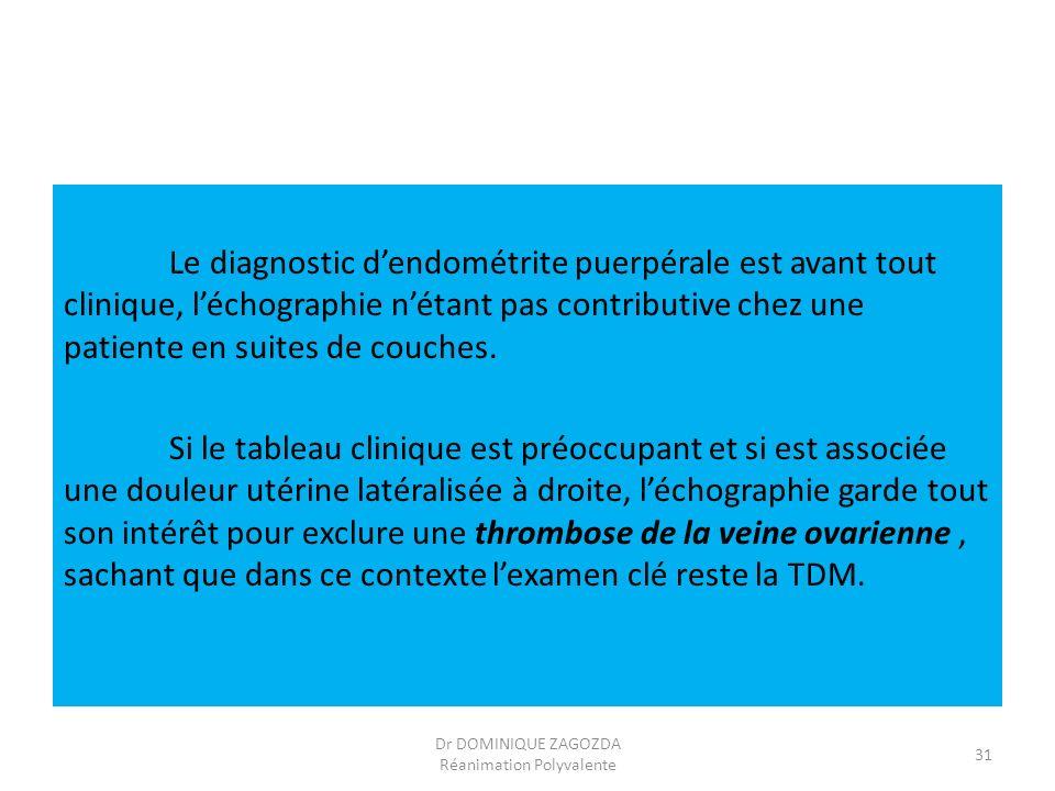 Le diagnostic dendométrite puerpérale est avant tout clinique, léchographie nétant pas contributive chez une patiente en suites de couches. Si le tabl