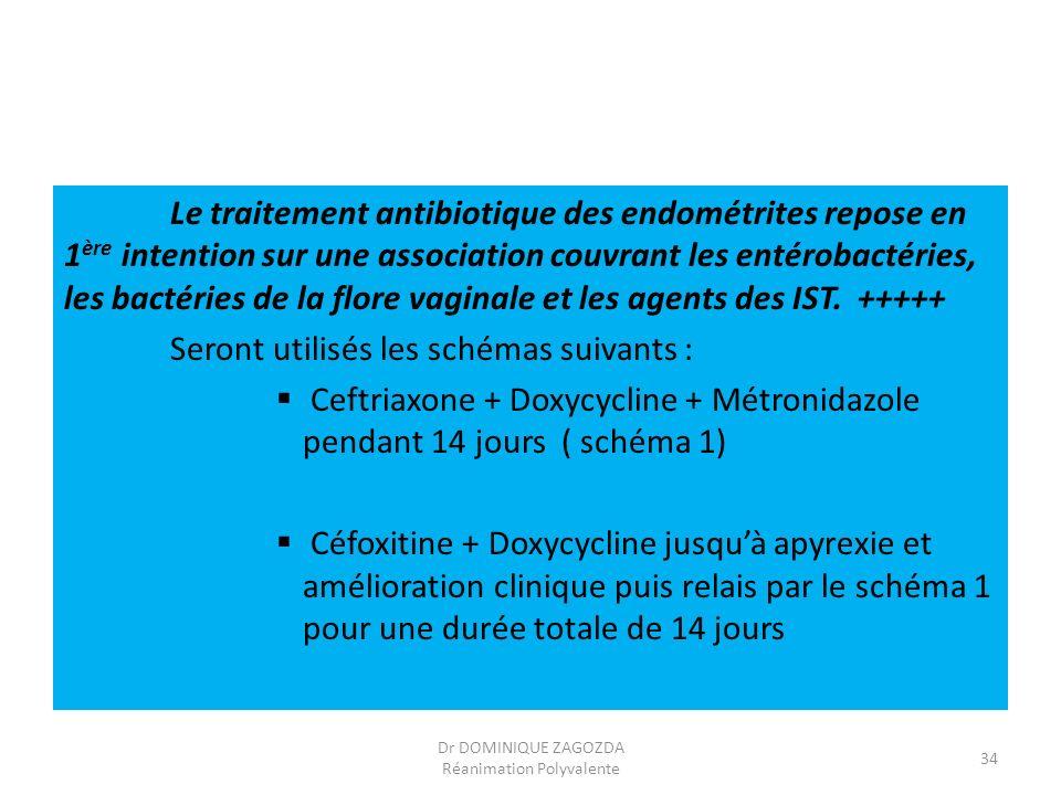 Le traitement antibiotique des endométrites repose en 1 ère intention sur une association couvrant les entérobactéries, les bactéries de la flore vagi