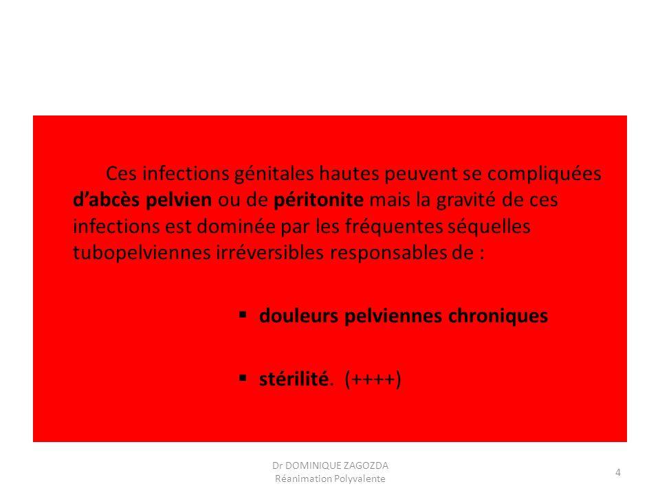 Ces infections génitales hautes peuvent se compliquées dabcès pelvien ou de péritonite mais la gravité de ces infections est dominée par les fréquente