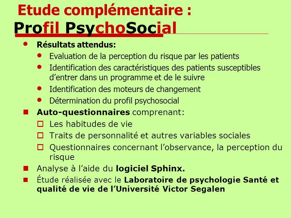 Etude complémentaire : Profil PsychoSocial Résultats attendus: Evaluation de la perception du risque par les patients Identification des caractéristiq