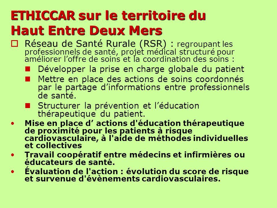ETHICCAR sur le territoire du Haut Entre Deux Mers Réseau de Santé Rurale (RSR) : regroupant les professionnels de santé, projet médical structuré pou