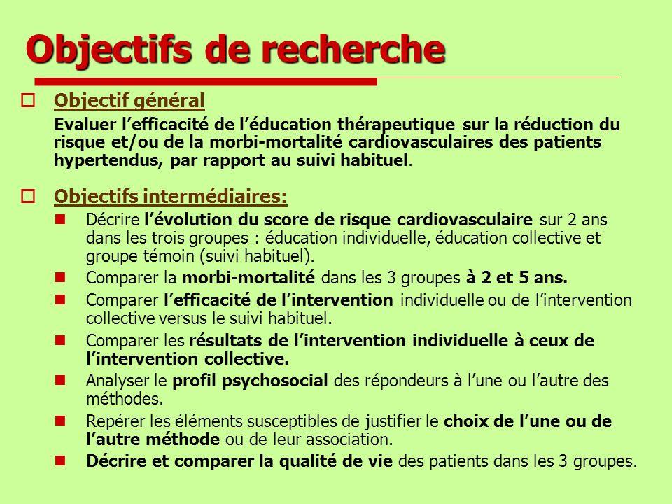Objectifs de recherche Objectif général Evaluer lefficacité de léducation thérapeutique sur la réduction du risque et/ou de la morbi-mortalité cardiov