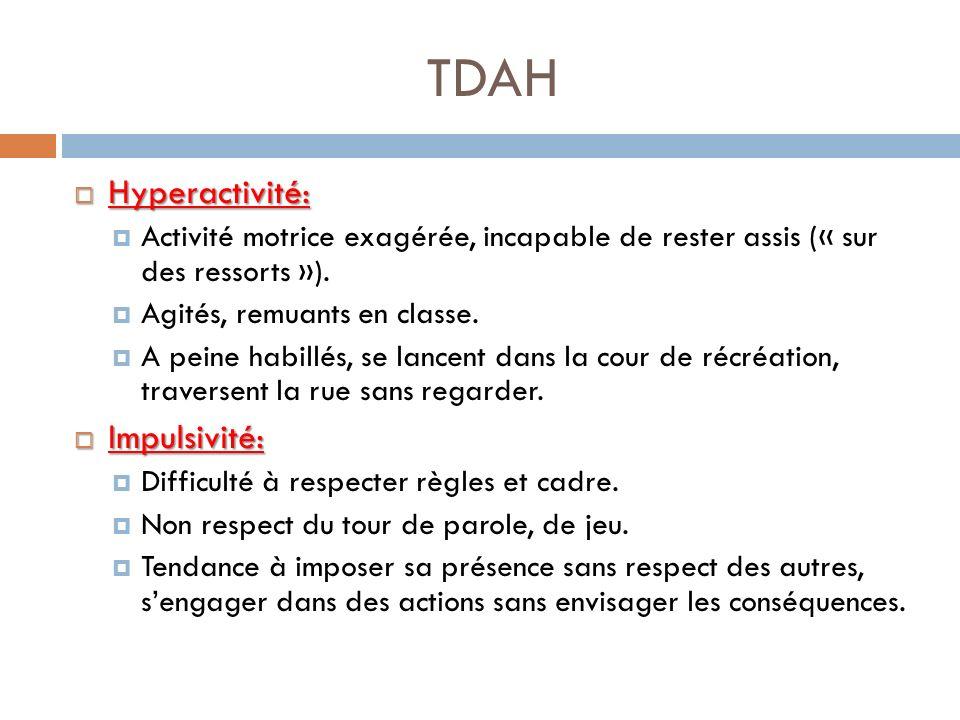 TDAH Hyperactivité: Hyperactivité: Activité motrice exagérée, incapable de rester assis (« sur des ressorts »). Agités, remuants en classe. A peine ha