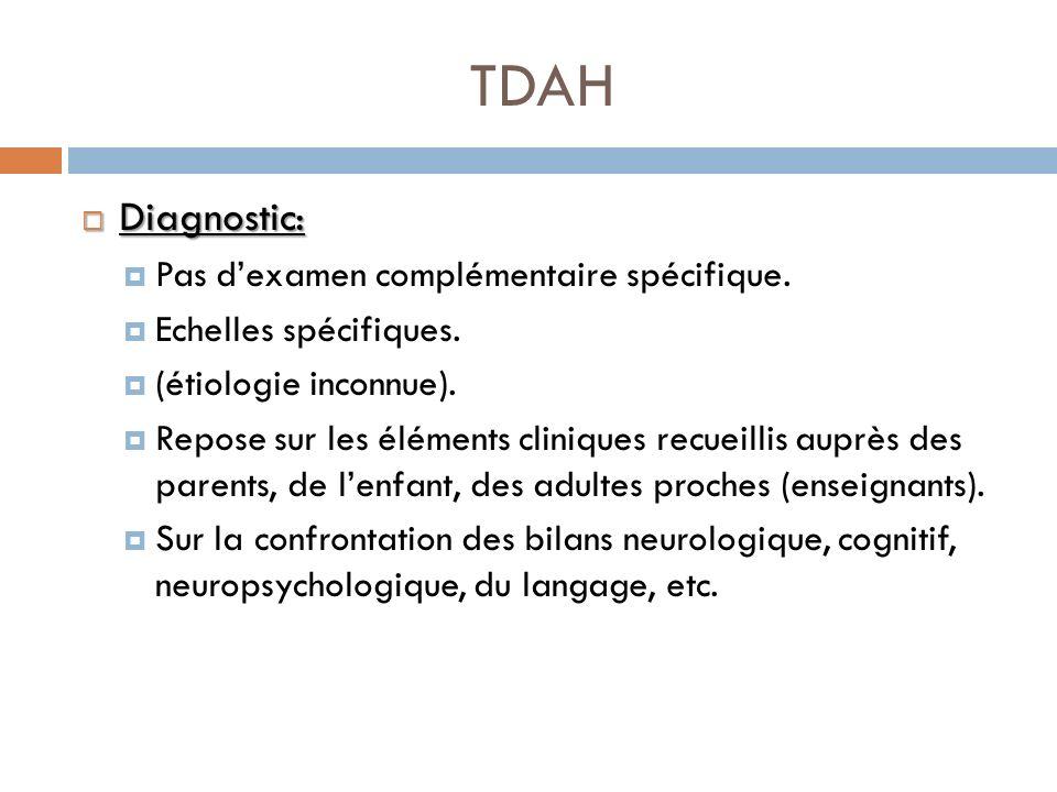 TDAH Diagnostic: Diagnostic: Pas dexamen complémentaire spécifique. Echelles spécifiques. (étiologie inconnue). Repose sur les éléments cliniques recu
