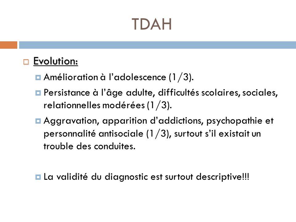 TDAH Evolution: Evolution: Amélioration à ladolescence (1/3). Persistance à lâge adulte, difficultés scolaires, sociales, relationnelles modérées (1/3