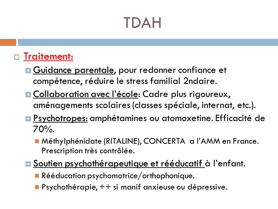 TDAH Traitement: Traitement: Guidance parentale Guidance parentale, pour redonner confiance et compétence, réduire le stress familial 2ndaire. Collabo