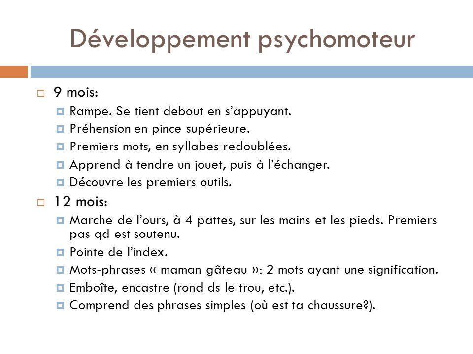 Développement psychomoteur 9 mois: Rampe. Se tient debout en sappuyant. Préhension en pince supérieure. Premiers mots, en syllabes redoublées. Apprend
