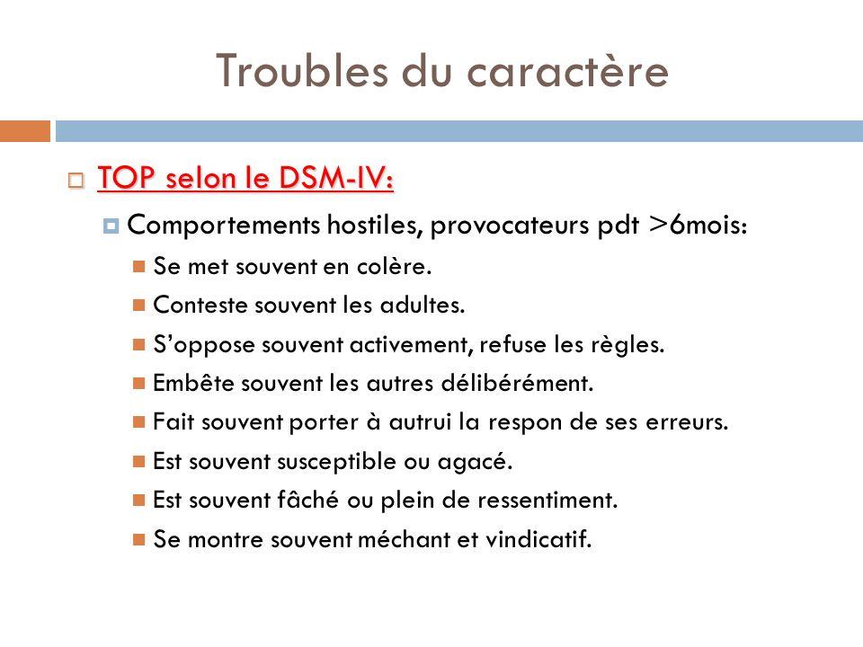 Troubles du caractère TOP selon le DSM-IV: TOP selon le DSM-IV: Comportements hostiles, provocateurs pdt >6mois: Se met souvent en colère. Conteste so