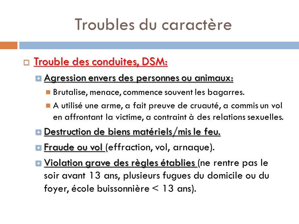 Troubles du caractère Trouble des conduites, DSM: Trouble des conduites, DSM: Agression envers des personnes ou animaux: Agression envers des personne