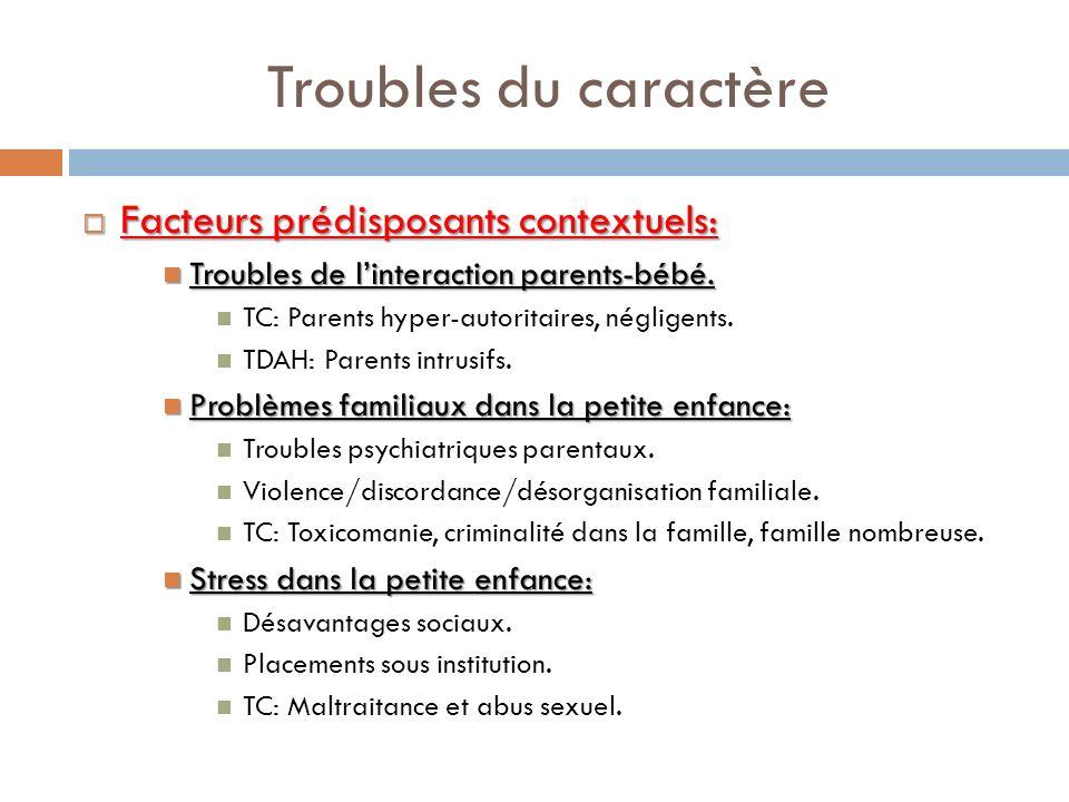 Troubles du caractère Facteurs prédisposants contextuels: Facteurs prédisposants contextuels: Troubles de linteraction parents-bébé. Troubles de linte