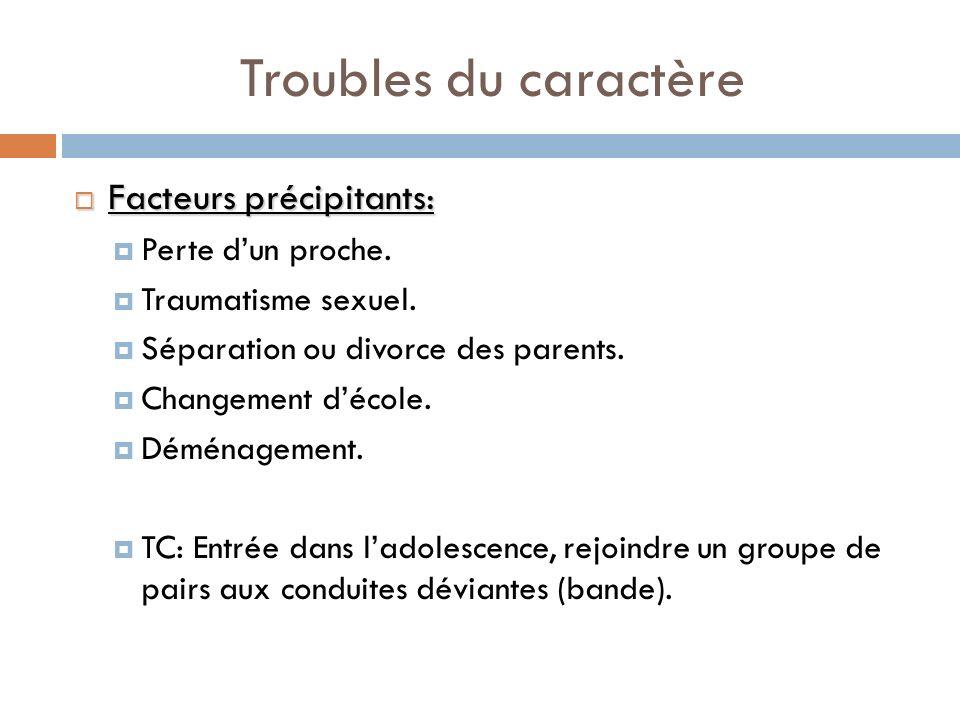 Troubles du caractère Facteurs précipitants: Facteurs précipitants: Perte dun proche. Traumatisme sexuel. Séparation ou divorce des parents. Changemen