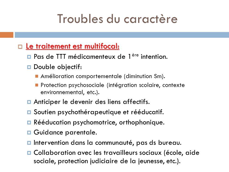 Troubles du caractère Le traitement est multifocal: Le traitement est multifocal: Pas de TTT médicamenteux de 1 ère intention. Double objectif: Amélio