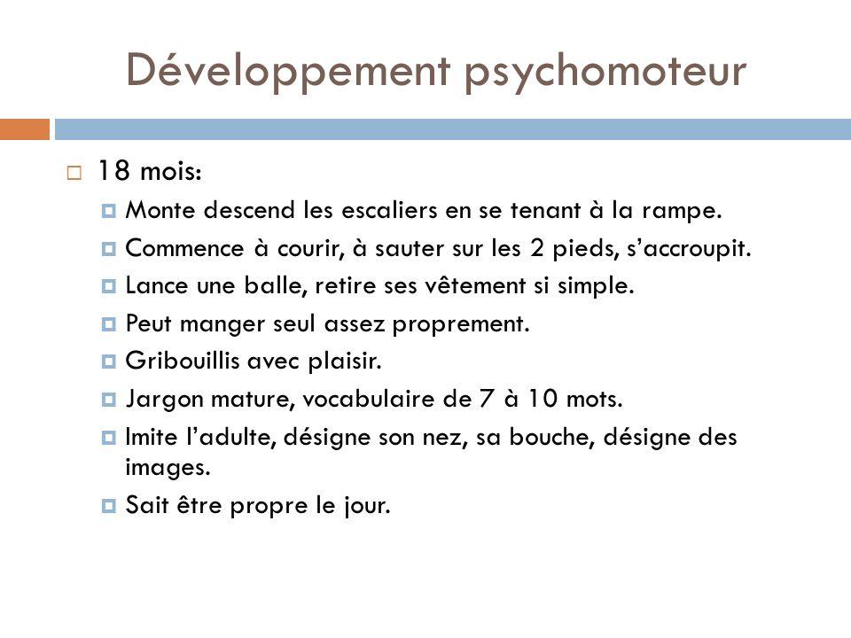 Développement psychomoteur 18 mois: Monte descend les escaliers en se tenant à la rampe. Commence à courir, à sauter sur les 2 pieds, saccroupit. Lanc