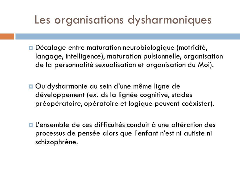 Les organisations dysharmoniques Décalage entre maturation neurobiologique (motricité, langage, intelligence), maturation pulsionnelle, organisation d