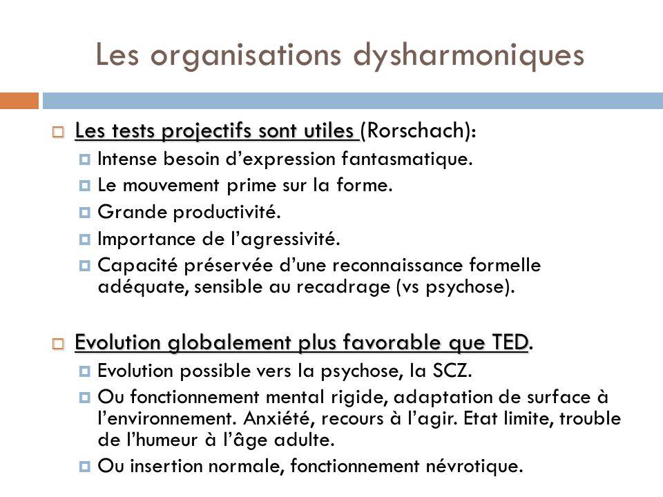 Les organisations dysharmoniques Les tests projectifs sont utiles Les tests projectifs sont utiles (Rorschach): Intense besoin dexpression fantasmatiq