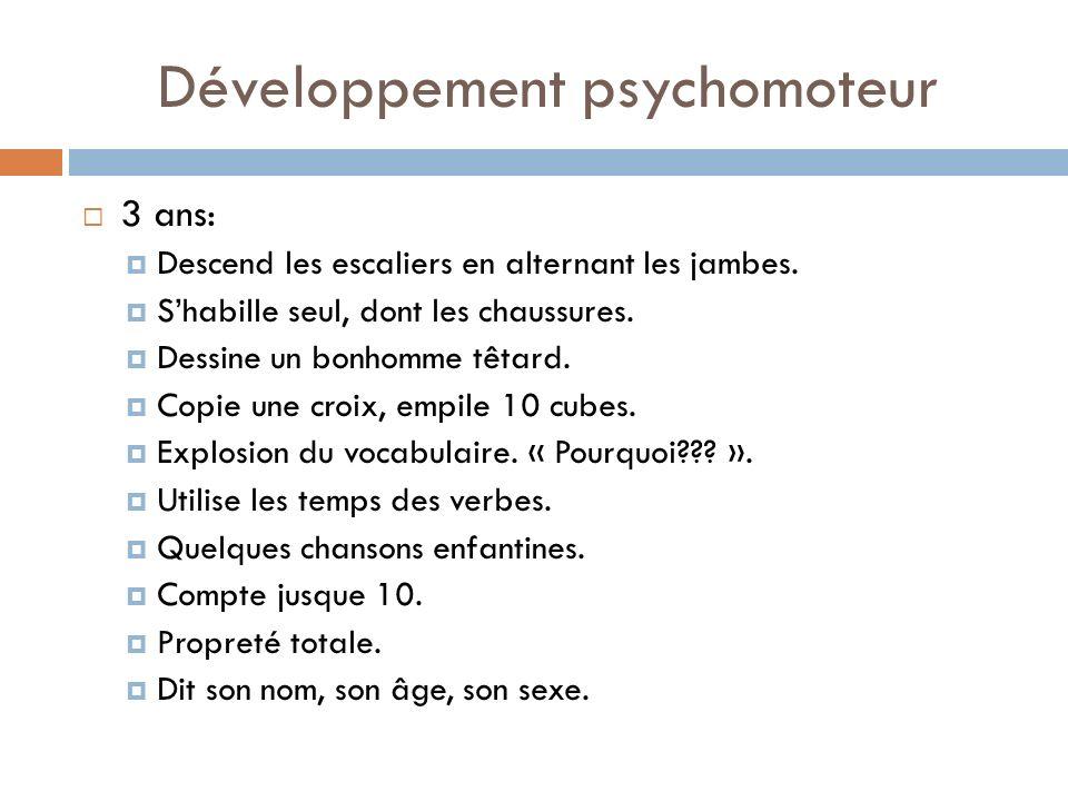 Développement psychomoteur 3 ans: Descend les escaliers en alternant les jambes. Shabille seul, dont les chaussures. Dessine un bonhomme têtard. Copie
