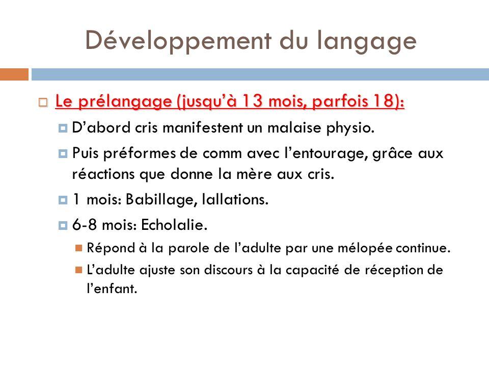 Développement du langage Le prélangage (jusquà 13 mois, parfois 18): Le prélangage (jusquà 13 mois, parfois 18): Dabord cris manifestent un malaise ph