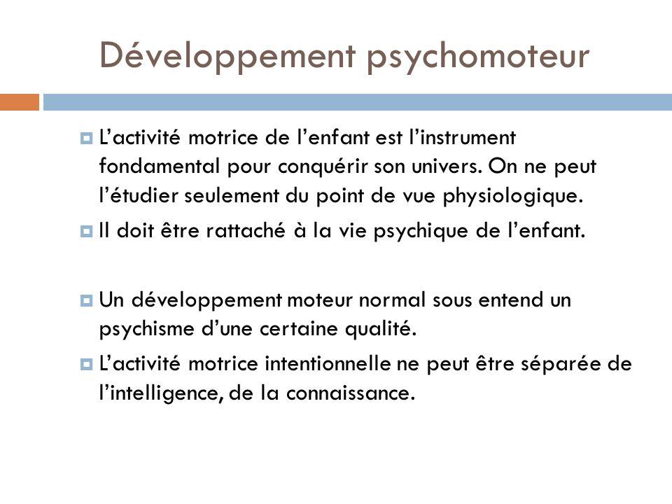 Développement psychomoteur Lactivité motrice de lenfant est linstrument fondamental pour conquérir son univers. On ne peut létudier seulement du point