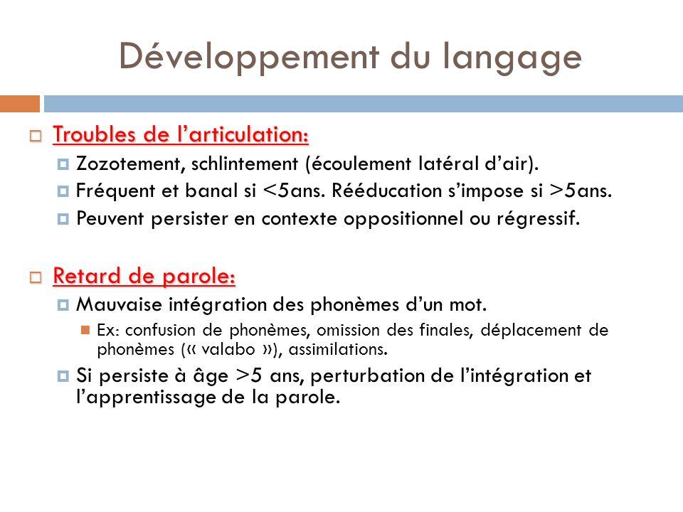 Développement du langage Troubles de larticulation: Troubles de larticulation: Zozotement, schlintement (écoulement latéral dair). Fréquent et banal s