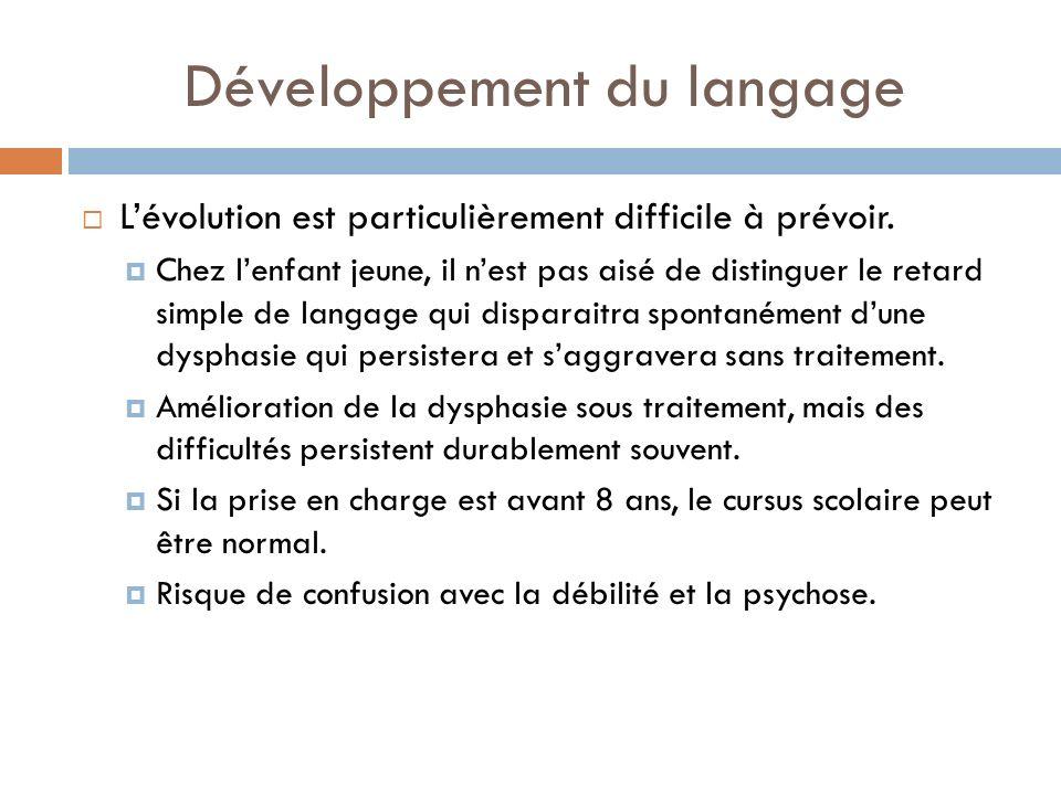 Développement du langage Lévolution est particulièrement difficile à prévoir. Chez lenfant jeune, il nest pas aisé de distinguer le retard simple de l