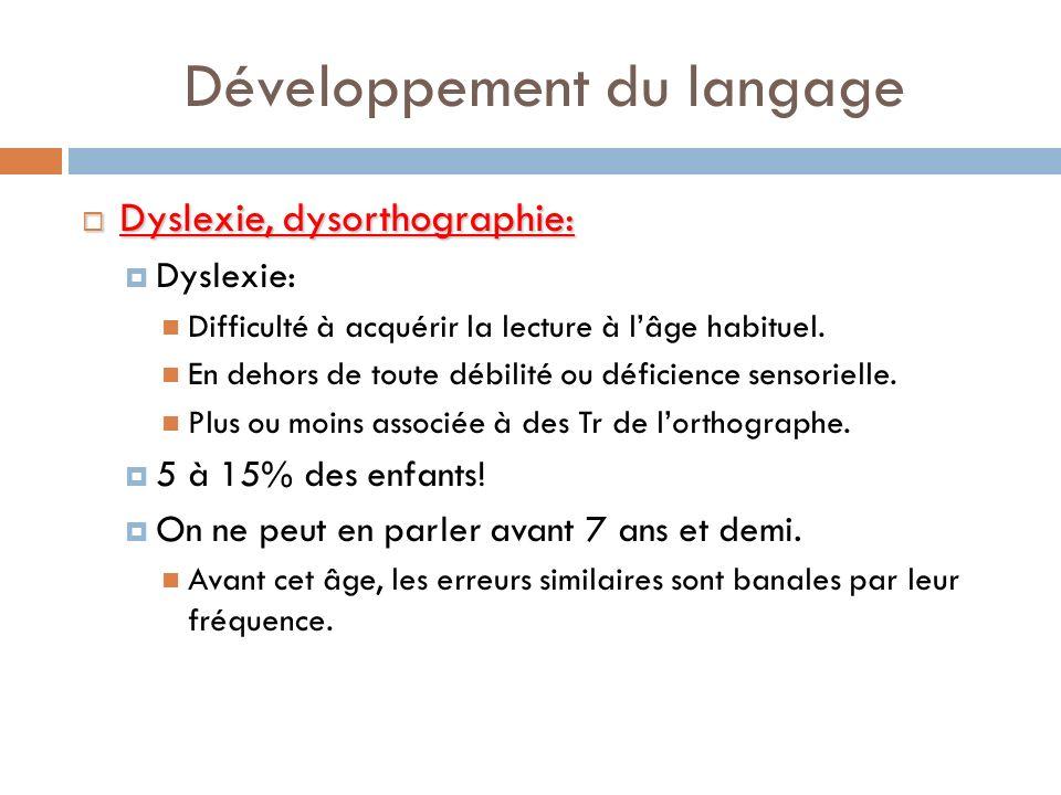 Développement du langage Dyslexie, dysorthographie: Dyslexie, dysorthographie: Dyslexie: Difficulté à acquérir la lecture à lâge habituel. En dehors d