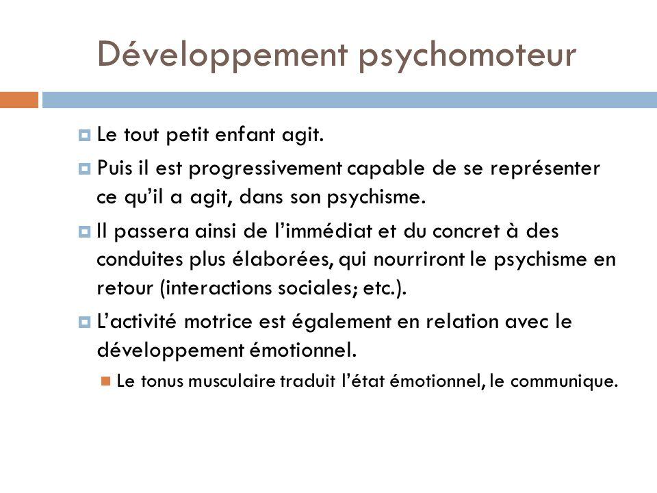 Développement psychomoteur Le tout petit enfant agit. Puis il est progressivement capable de se représenter ce quil a agit, dans son psychisme. Il pas