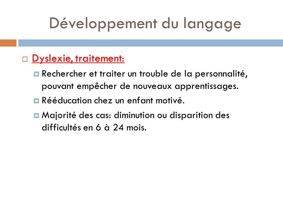 Développement du langage Dyslexie, traitement: Dyslexie, traitement: Rechercher et traiter un trouble de la personnalité, pouvant empêcher de nouveaux