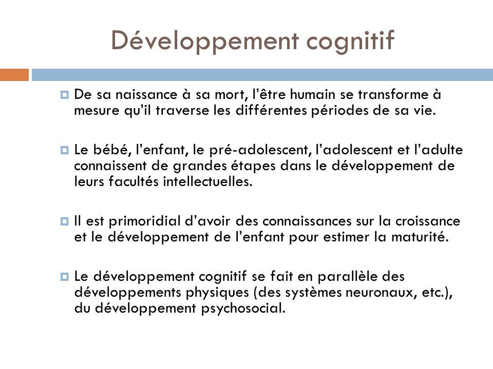 Développement cognitif De sa naissance à sa mort, lêtre humain se transforme à mesure quil traverse les différentes périodes de sa vie. Le bébé, lenfa