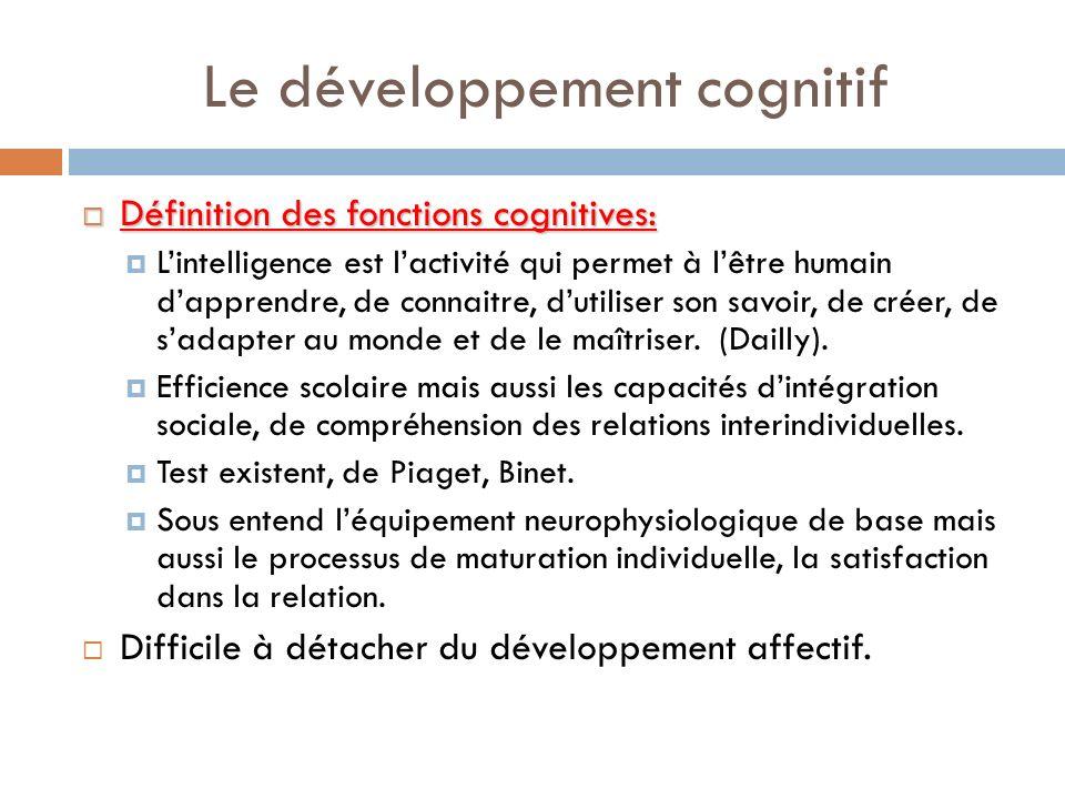 Le développement cognitif Définition des fonctions cognitives: Définition des fonctions cognitives: Lintelligence est lactivité qui permet à lêtre hum