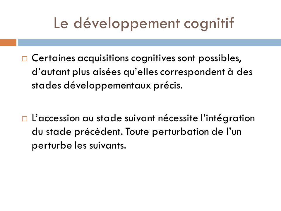 Le développement cognitif Certaines acquisitions cognitives sont possibles, dautant plus aisées quelles correspondent à des stades développementaux pr