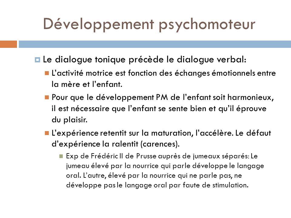 Développement psychomoteur Le dialogue tonique précède le dialogue verbal: Lactivité motrice est fonction des échanges émotionnels entre la mère et le