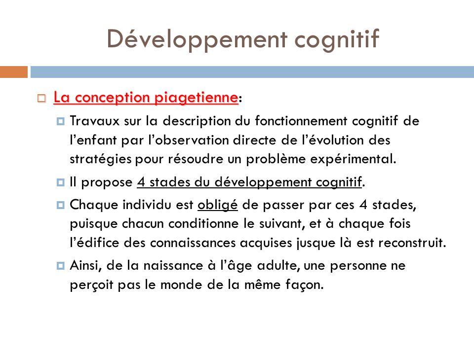 Développement cognitif La conception piagetienne La conception piagetienne: Travaux sur la description du fonctionnement cognitif de lenfant par lobse