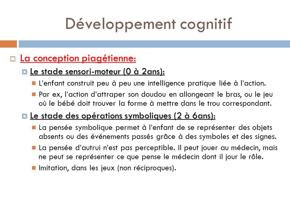 Développement cognitif La conception piagétienne: La conception piagétienne: Le stade sensori-moteur (0 à 2ans): Le stade sensori-moteur (0 à 2ans): L