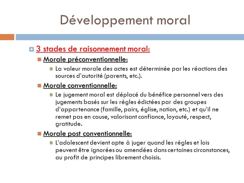 Développement moral 3 stades de raisonnement moral: 3 stades de raisonnement moral: Morale préconventionnelle: Morale préconventionnelle: La valeur mo