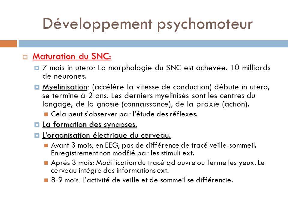 Développement psychomoteur Maturation du SNC: Maturation du SNC: 7 mois in utero: La morphologie du SNC est achevée. 10 milliards de neurones. Myelini