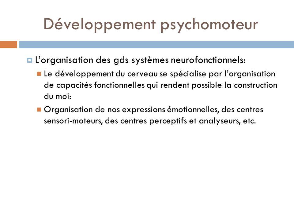 Développement psychomoteur Lorganisation des gds systèmes neurofonctionnels: Le développement du cerveau se spécialise par lorganisation de capacités