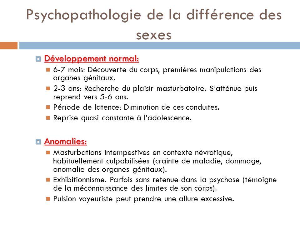 Psychopathologie de la différence des sexes Développement normal: Développement normal: 6-7 mois: Découverte du corps, premières manipulations des org