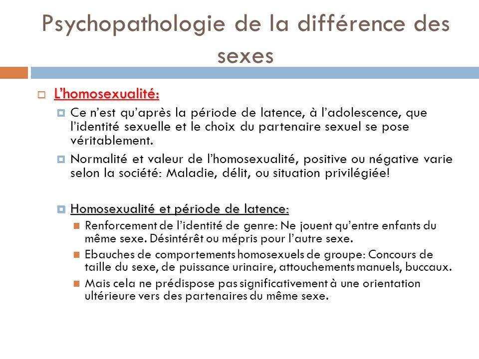 Psychopathologie de la différence des sexes Lhomosexualité: Lhomosexualité: Ce nest quaprès la période de latence, à ladolescence, que lidentité sexue