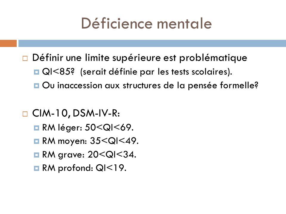 Déficience mentale Définir une limite supérieure est problématique QI<85? (serait définie par les tests scolaires). Ou inaccession aux structures de l